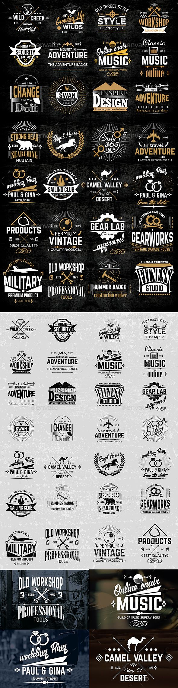 Vintage Logo & Badge Collection Vector Template EPS, AI #design Download: http://graphicriver.net/item/vintage-logo-badge-collection/13435764?ref=ksioks