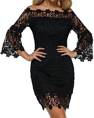 6b6ac3c96 Auxo Robe de Soirée Femme Chic Dentelle Bustier Manche Longue Robe ...