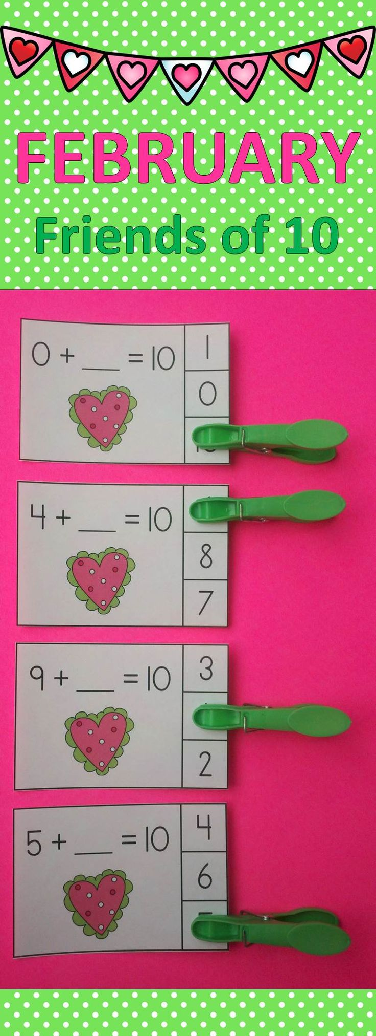 Let Your Little Learners Practice Making 10 with These Engaging February Addition Activities!  $ #ValentinesDay  #making10   #FriendsOf10 #kampkindergarten  #ValentinesDayMathCenters   https://www.teacherspayteachers.com/Product/February-Friends-of-10-Addition-Clip-Cards-2352541