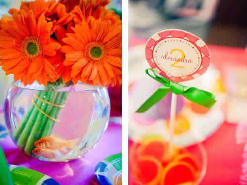Goldfish and Gerber Daisy Centerpiece: Gerber Daisies, Flowers Centerpieces, Flowers Bowls, Flower Centerpieces, Dorothy Centerpieces, Daisies Centerpieces, Pink Daisies, Parties Ideas, Birthday Centerpieces