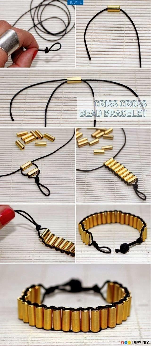 Bracelet avec perles tubes (ici en metal ou à faire avec perles tubes en bois pour un côté plus ethnique)