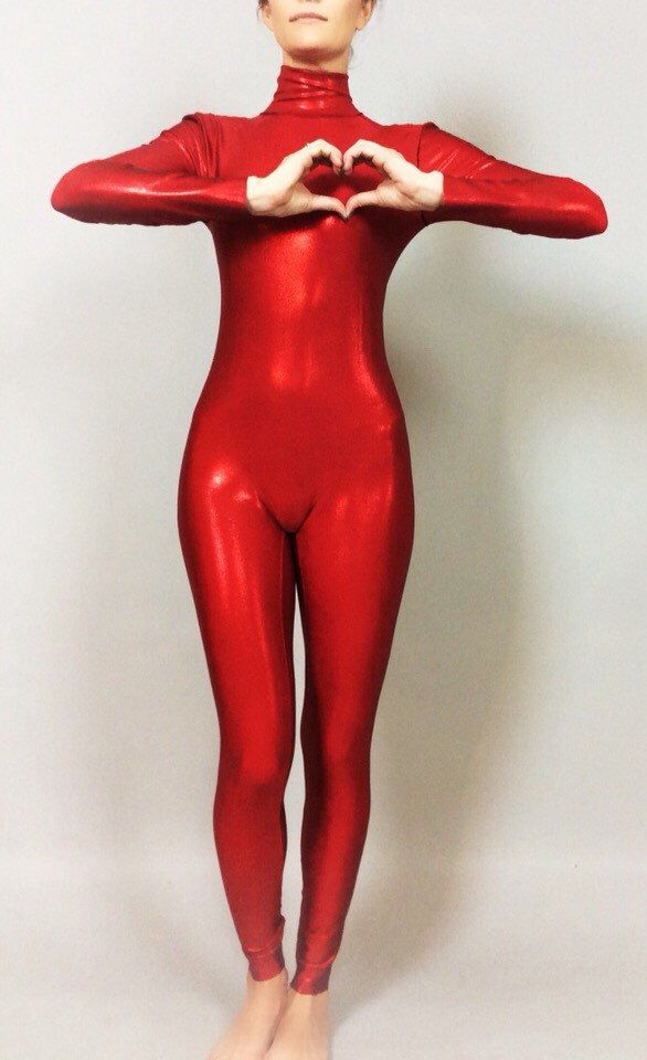 Hologram Red Catsuit. Full bodysuit with zipper on the back. by KikimoraFashion on Etsy https://www.etsy.com/listing/240556252/hologram-red-catsuit-full-bodysuit-with