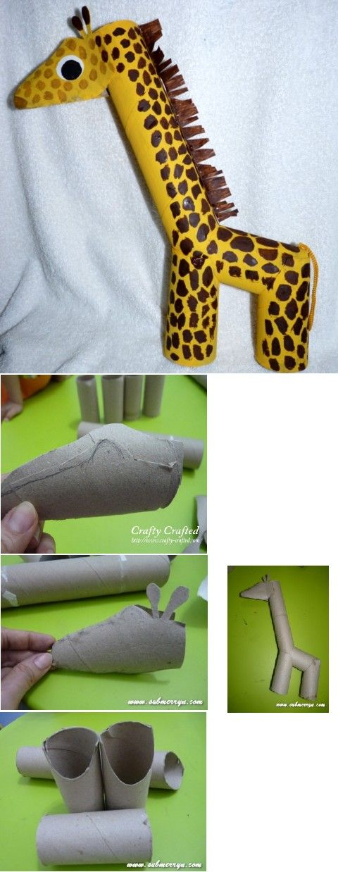 Giraf knutselen met wc-rolletjes en keukenrol Simpel, maar toch leuk!!!