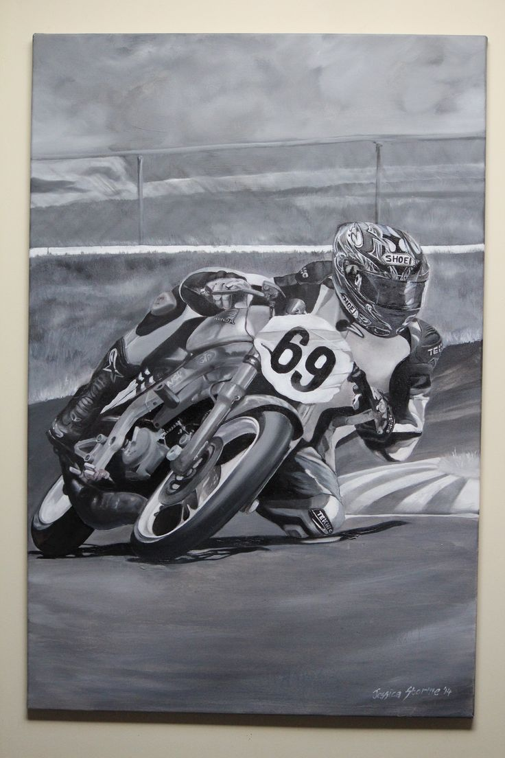 My painting of my husband racing a bucket (A bucket is a smaller motorbike that is 150cc four stroke, 125cc two stroke engine  that was originally manufactured for the road not the track, also know as F4 class).  The photo of him racing was also taken by me and was my reference for creating this painting.   Blank and White Oil Painting on Canvas 60cm x 91cm