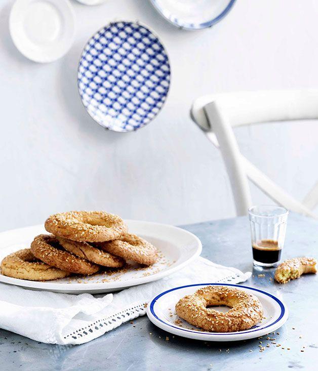 Australian Gourmet Traveller Greek pastry recipe for sesame rings.