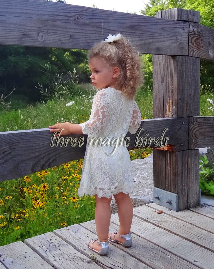 Lace Flower Girl Dress-Christening Baptism Dress-IVORY Rustic Flower Girl Dress-Bridesmaid Dress-Country Flower Girl Dress-Birthday Dress by ThreeMagicBirds on Etsy
