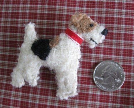 Wire Fox Terrier Wool Dog Friend Pin