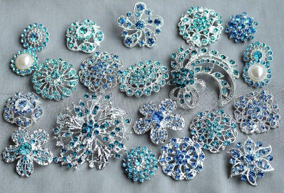 10 Teal Turquoise Aqua Tiffany Blue Rhinestone di yourperfectgifts, $17.45