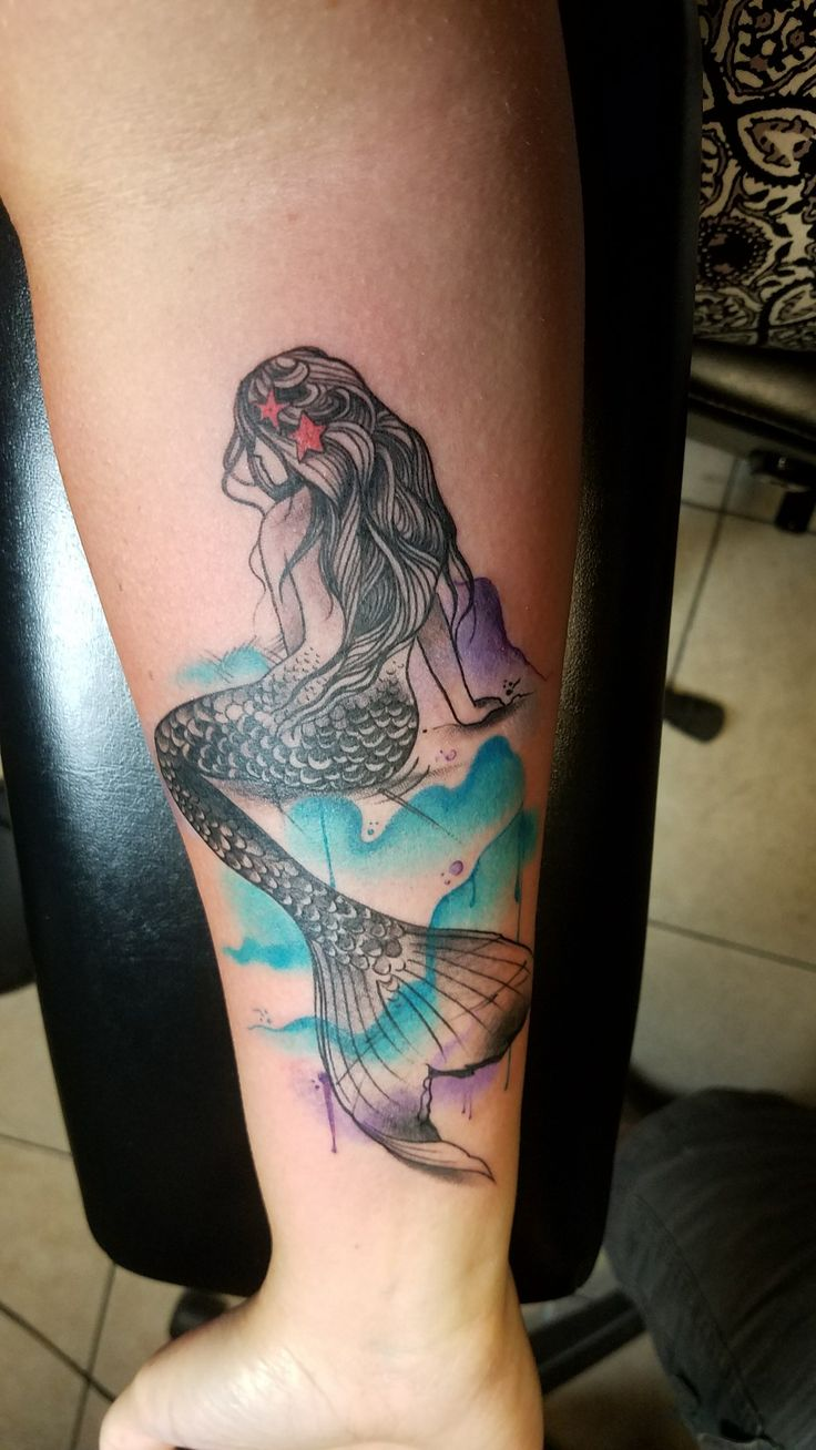 My beautiful new mermaid tattoo.....done in Myrtle Beach at Elite Ink Tattoos by Adam Bartley