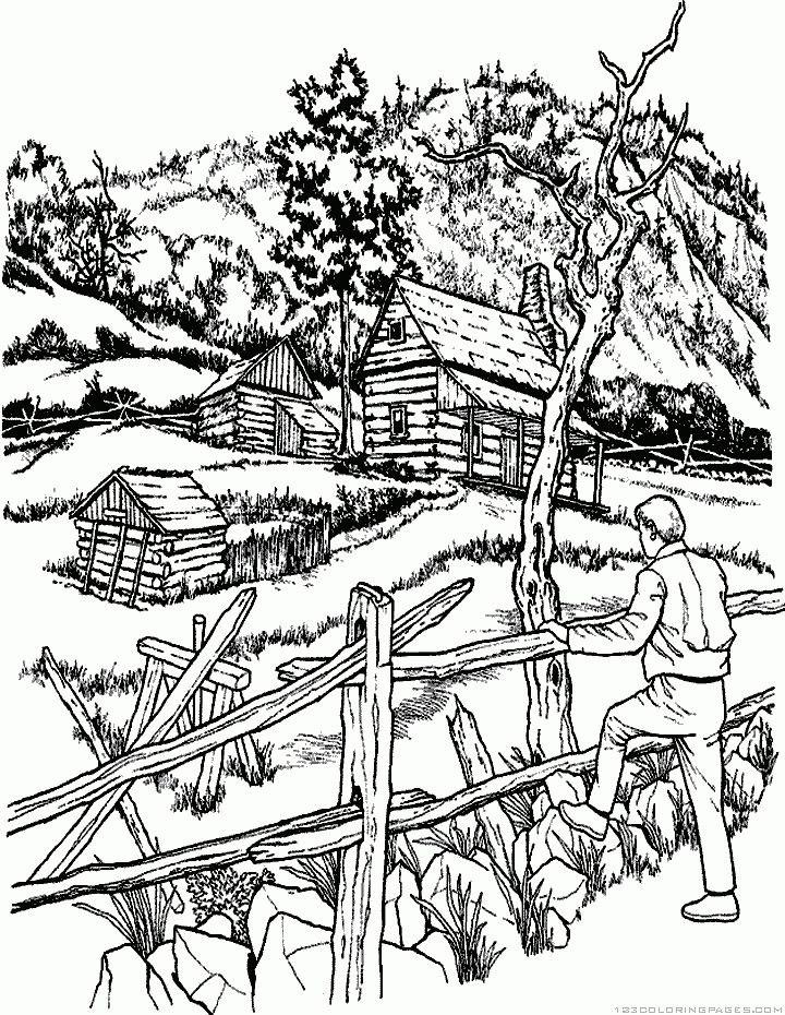 Landscape Coloring Pages - Part 2 | Fall coloring pages ...