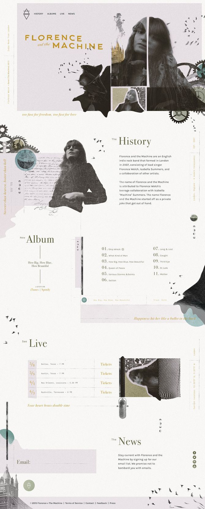 Beautiful layouts. Florence + the Machine Website - Andrew Czap