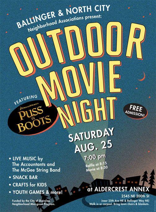 Movie night invitation template editable