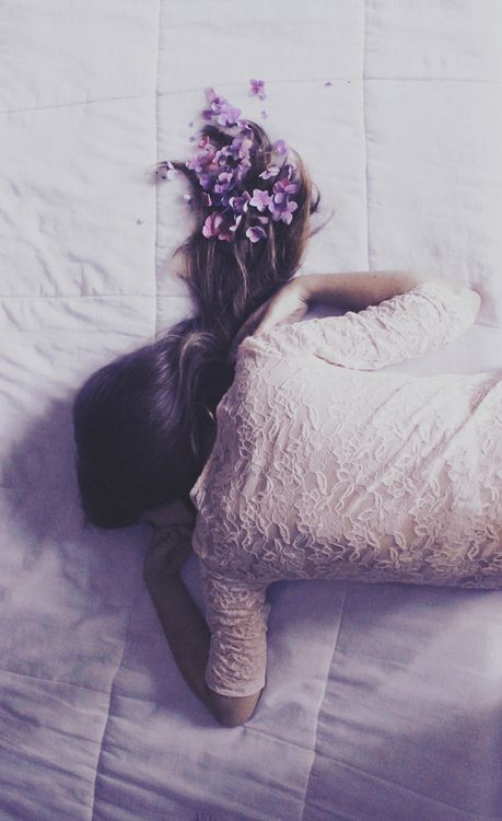 Falling asleep with flowers