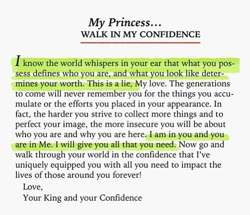 My Princess, walk in my confidence