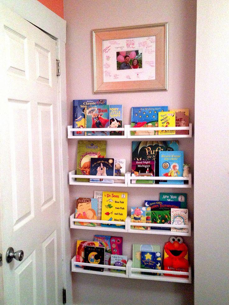 DIY IKEA spice rack book shelves for baby girl nursery ...