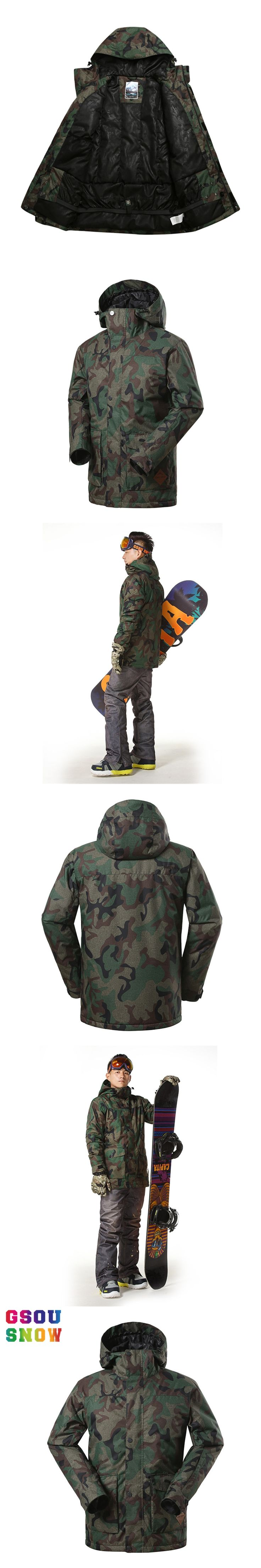GSOU SNOW Ski Jacket Men Camouflage Thicken Snowboard Jacket Men Warmth Breathable Waterproof Outdoor Sports Winter Snow Coats
