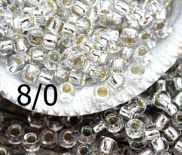 8/0 Toho Seed Beads N 21 Silver Lined Crystal 10g