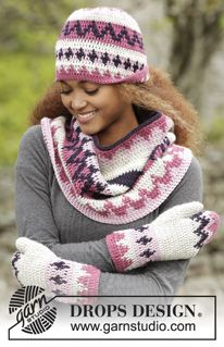 """Pink Maze - Crochet DROPS hat, neck warmer and mittens with multi-colored pattern in """"Nepal"""". - Free pattern by DROPS Design"""