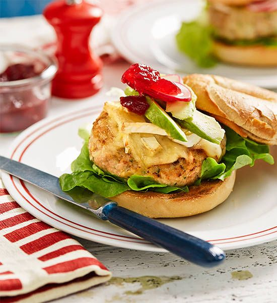 Turkey, cranberry and brie bagel burgers: A lighter and fresher twist on a regular burger, cranberry and brie go hand-in-hand with a low-fat turkey patty in these delicious bagel bur...