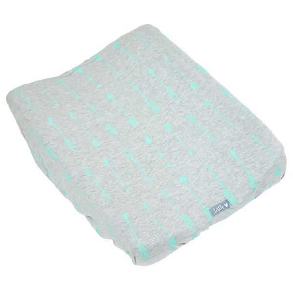 Mint Arrows on Grey | 100% cotton knit fabric | Fits standard size change mat size of 56 x 46 x 12 cm (length x width x height)
