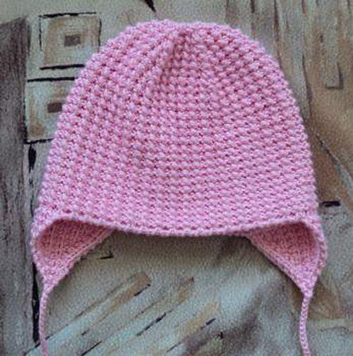 Простая шапка с ушками спицами на 1-2 года