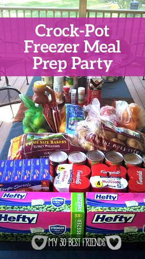 The Great Crock-Pot Freezer Meal Prep Party! Should do this before baby comes.