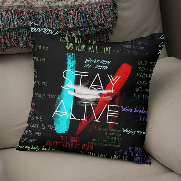 Discover «Twenty One Pilots Stay Alive Song Lyrics Quotes», Exclusive Edition Throw Pillow by Retno Mustakimah - From $29.5 - Curioos