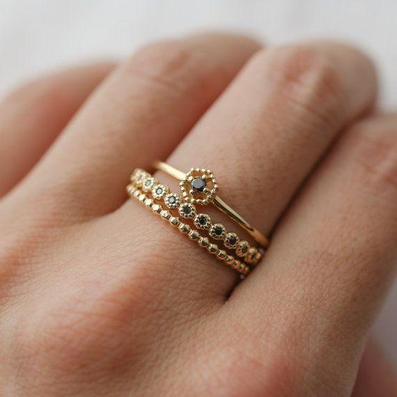 Black Diamond Memoirering aus massivem 14 k Gold s…