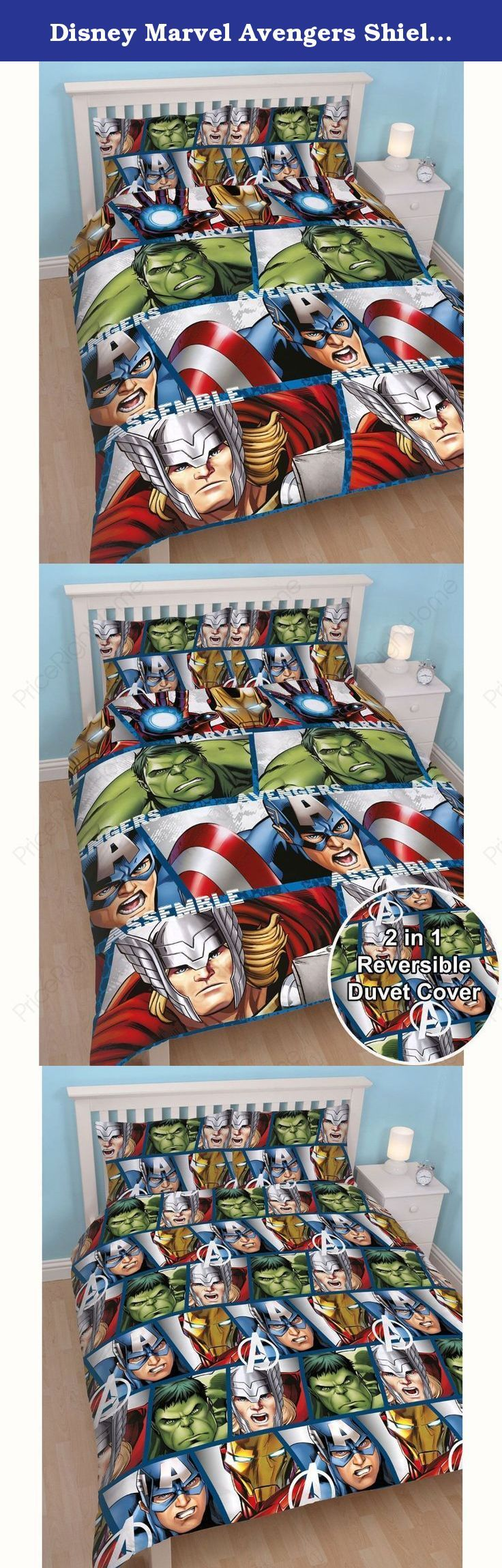 Disney Marvel Avengers Shield UK Double/US Full Duvet Set. This awesome double duvet cover set features Captain America, Thor, The Hulk and Iron Man and is bound to be a hit for superhero fans of all ages! This bedding set is made from easy care microfibre material and can be machine washed and tumble dried on a cool setting. Please note: Comforter and pillow not included.