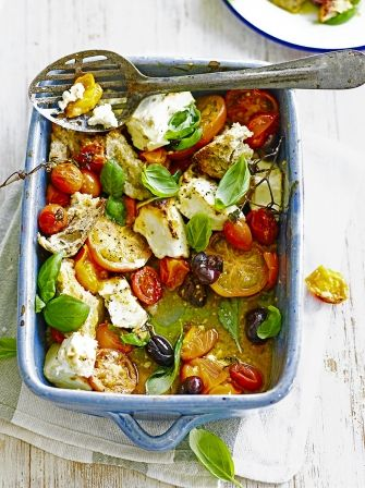 Baked feta is a traditional Greek dish which makes a great vegetarian starter, this easy recipe from Jamie Oliver pairs fresh tomatoes with salty feta.