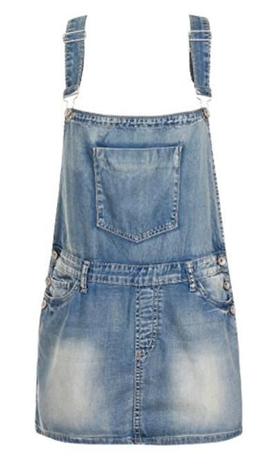 Damen-Latzkleid im Used-Look Frauen Sommer Jeans-Latzhose Denim 34 36 38 40 42 #casualdress #offduty #sunny #women #covetme #Regular Denim