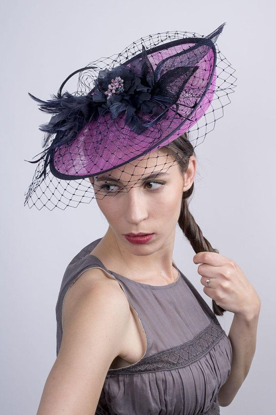 fc14f1cdb83c8 Kentucky derby headpiece, Derby fascinator hat, Pink navy hat, hot ...