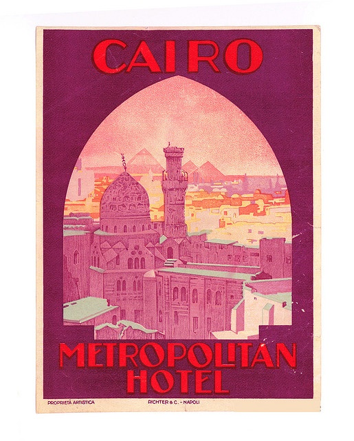 Metropolitan hotel cairo luggage label