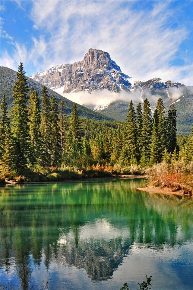 Природа пейзаж, канадский лес озеро iPhone 4 (4S) обои - 640x960