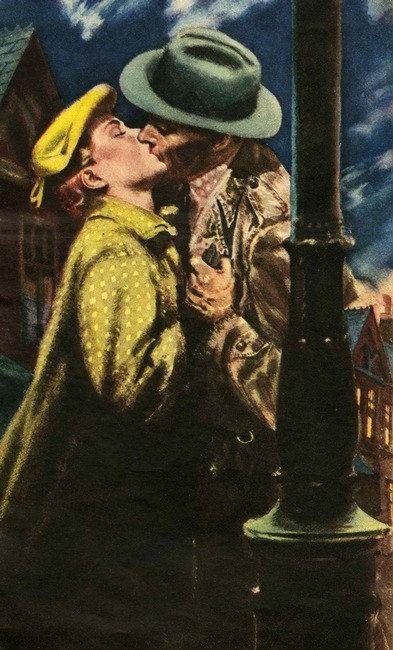Vintage illustration Couple kissing love romance by Vividiom