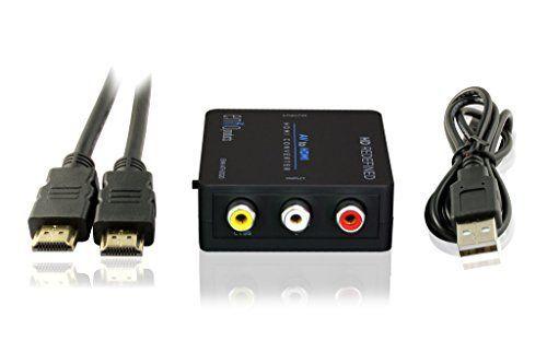 Mini convertisseur Composite RCA CVBS AV vers HDMI (Entrée : AV-Sortie : HDMI pour DVD VCR 720P 1080P avec câble HDMI haute vitesse (2…