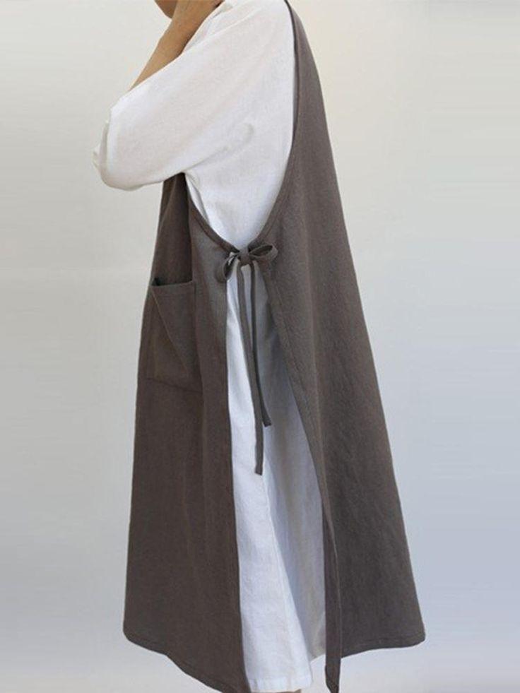 Women Retro Cotton Sleeveless Pockets Side Split Pinafore Dress