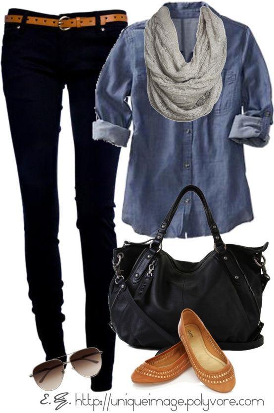 denim shirt and black pants w/ cognac accessories and shoes