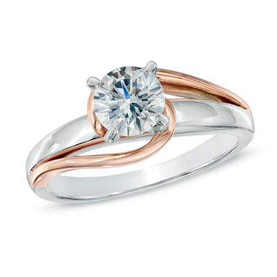 1/2 CT. Diamond Solitaire Swirl Engagement Ring in 14K Two-Tone Gold - Brilliant Buys - Zales