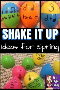 Mrs. King's Music Room: Shake it Up! Spring Activities for Music Class  Song ideas for shaking eggs, ways to use plastic eggs for centers and movement. LOVE this post. Very practical and lots of fun.