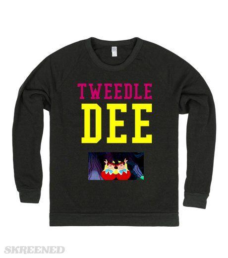 "Tweedle Dee | Women's Chopped Sweatshirt Grey, ""Tweedle Dee"" Find the matching one Here! #Skreened"