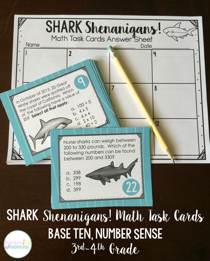 Shark Week inspired Math Task Card-Review of 3rd Grade and Introduction of 4th Grade Number Sense, Place Value, 10:1 Relationship, Rounding, and Mutliplying by Tens & Hundreds
