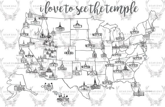 LDS Temple Map Print. Available in multiple sizes. Color them in as you visit them.