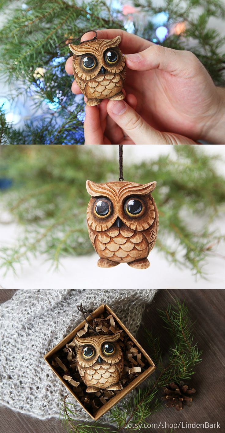 Carved owl ornament Owl lover gift Christmas ornaments Wood carving Christmas tree toy Bird ornaments Wooden owl figurine Woodcarving Owl