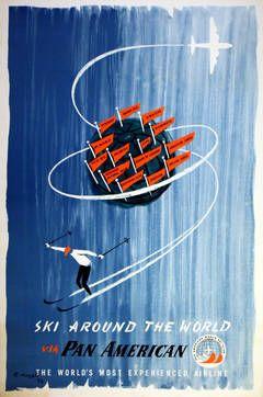 Original Pan Am World Ski Club Poster - Ski Around The World Via Pan American