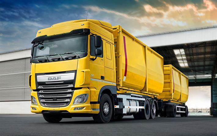 Lataa kuva DAF XF, 2017, Euro 6, Grain carrier, perävaunullinen kuorma-auto, keltainen XF, rahti, kuorma-autot, DAF