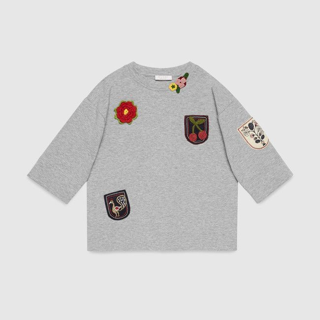 gucci youth. gucci children\u0027s light grey sweatshirt with felted and hand-crochet appliqués. youth r