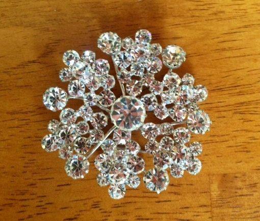 Brilliant Snowflake Vintage Rhinestone Brooch and Earring by 4Seas, $38.00
