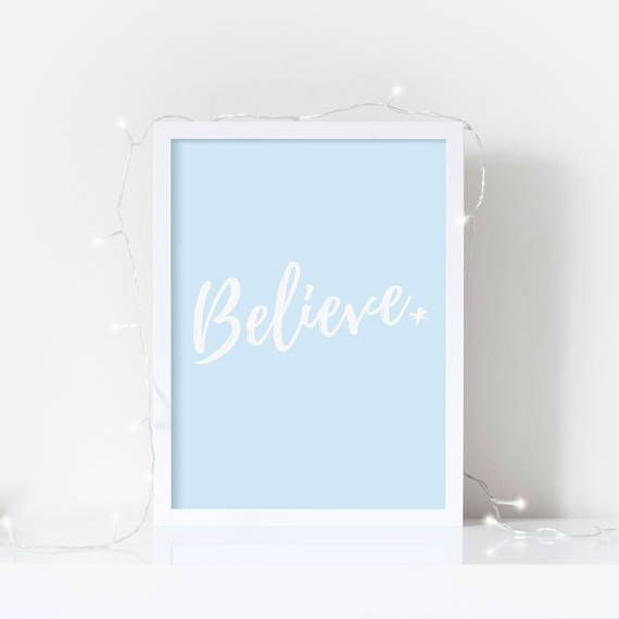 Piglet and Fizz - Believe - Simple quote print ideal for nurseries, childrens rooms or anywhere where theres a little bit of imagination and wonder.  Also available in glitter effect and black text on white:  Our Standard Print is printed on a bright white, matt poster paper (230gsm). Our Premium Print is printed on a neutral white, lightly textured cotton paper (300gsm) for a little extra luxury. We recommend this paper if youre framing with a mount, in a white frame or just for a special…