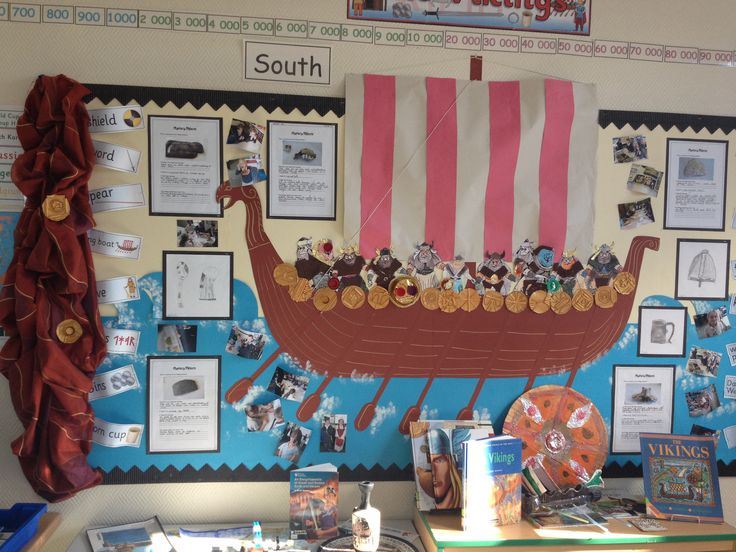 Vikings display year 4! Sketches, artefacts and collage.